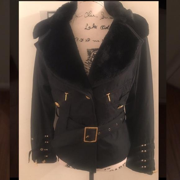 8a9aca2f Versace jacket with belt/. Faux fur trim